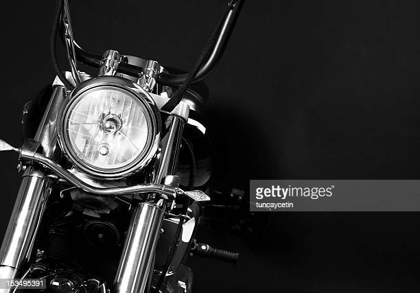 The headlights of a motorcycle
