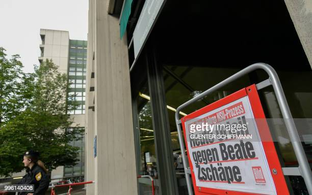 The headline of a newspaper is pictured in front of the court where the trial against Beate Zschaepe the only surviving member of neoNazi cell...