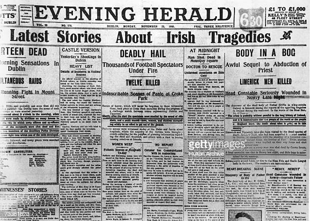 The headline of the Dublin Evening Herald reads 'Latest Stories about Irish Tragedies', 22nd November 1920. The newspaper reports on the massacre at...