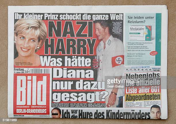 The headline of the German tabloid Bild asks Nazi Harry What Would Diana Have Said About That and features the story of British Prince Harry...