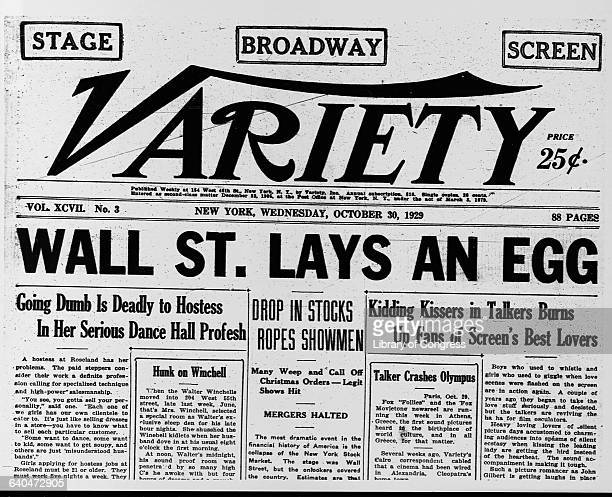 The headline of Variety proclaims 'Wall St Lays An Egg' after the October 29 1929 crash of the Stock Market