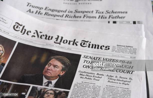 The headline on the front page of The New York Times declares that the United States Senate confirmed the nonination of Brent Kavanaugh to the U.S....