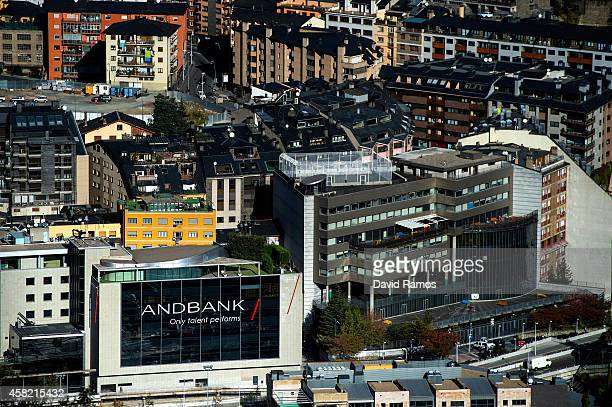The headquarter of Andbank stands amongst residential buildings on October 31 2014 in Andorra la Vella Andorra Andorra is a tax haven status although...