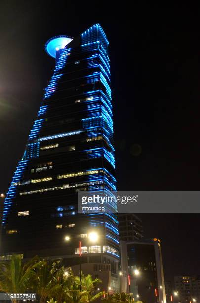 the headquarters business park skyscraper seen from corniche road, jeddah, mecca region, saudi arabia - jeddah stock pictures, royalty-free photos & images