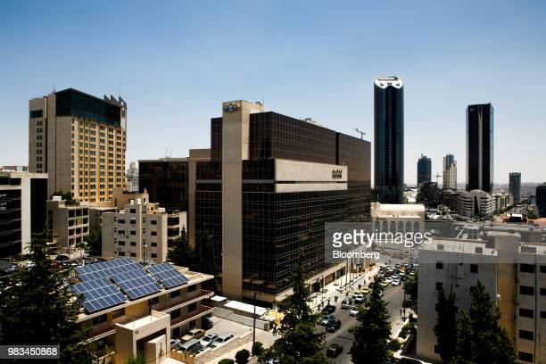 The headquarters of Arab Bank Plc center and Al Abdali district sits on the city skyline in Amman Jordan on Thursday June 21 2018 President Trump and...