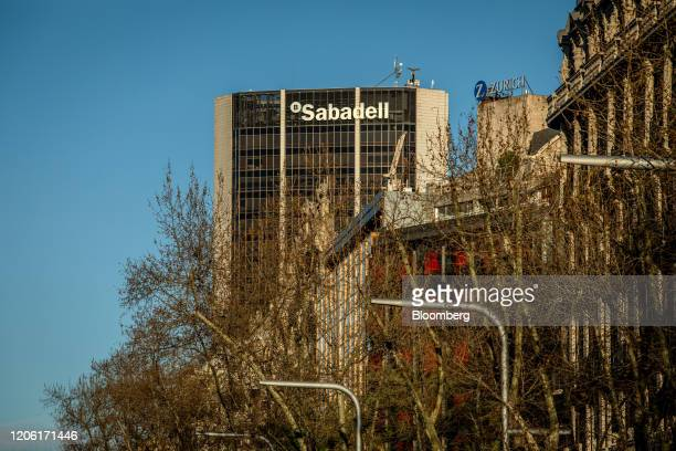 The headquarters of Banco de Sabadell SA stand in Barcelona Spain on Thursday March 5 2020 Spanish bank shares soared after the European Unions top...