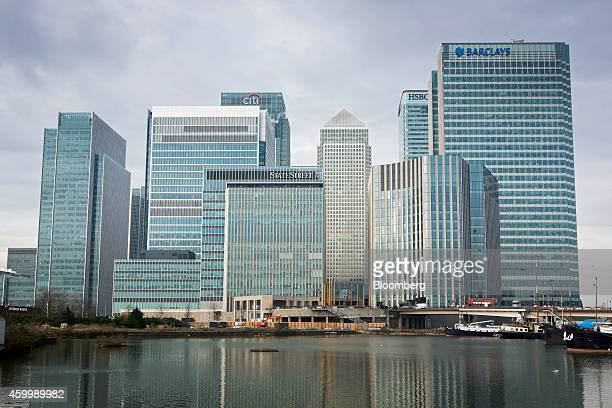 The headquarters of Barclays Plc right and HSBC Holdings Plc second right stand amongst the offices of Citigroup Inc State Street Corp and One Canada...