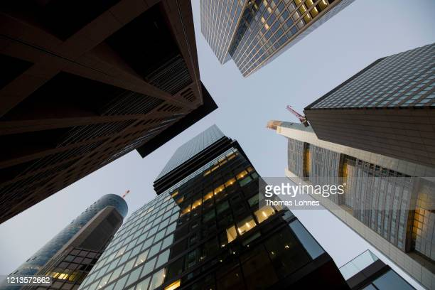 The headquarters of Commerzbank and the new skyscraper 'Omniturm' stand on March 19 2020 in Frankfurt Germany Restrictions from the state of Hesse...