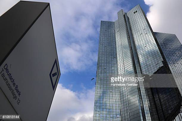The headquarters of Deutsche Bank stand on September 26 2016 in Frankfurt Germany Shares of Deutsche Bank dropped by over 6% today and fell to their...