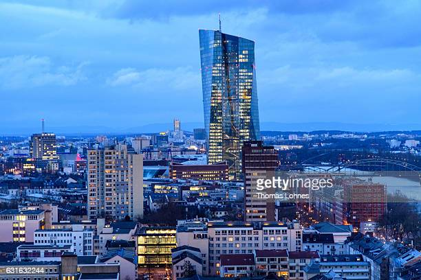 The headquarters of European Central Bank stands on a cold evening on January 13 2017 in Frankfurt Germany Many European banks are currently in a...