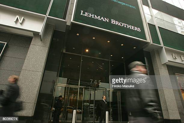 The headquarters of Lehman Brothers is shown in Times Square March 18 2008 in New York City Lehman posted a 57% decline in first quarter profits...
