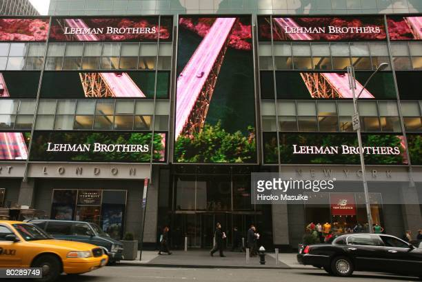 The headquarters of Lehman Brothers is shown in Times Square March 18 2008 in New York Lehman posted a 57% decline in first quarter profits however...