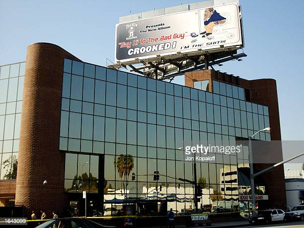 The headquarters of Tha Row Records is seen after a search warrant was served on November 14 2002 in Beverly Hills California Detectives...