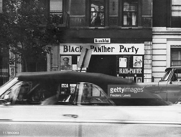 The headquarters of the African-American revolutionary organization, the Black Panther Party at 2026 Seventh Avenue, Harlem, New York City, circa...