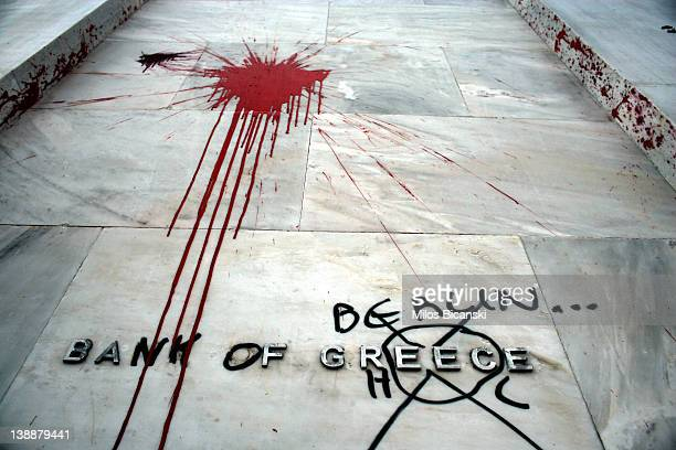 The Headquarters of the Bank of Greece are vandalised following violent protests which took place against the Government's austerity plans February...