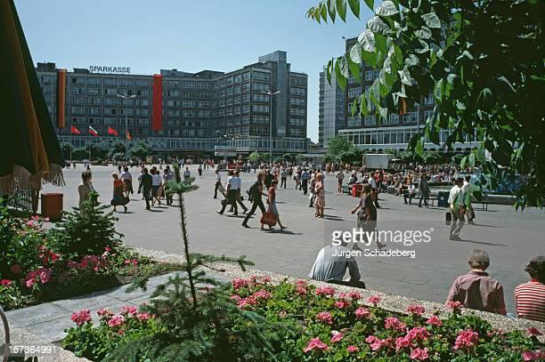 The headquarters of the Berliner Sparkasse on Alexanderplatz in East Berlin Germany 1983