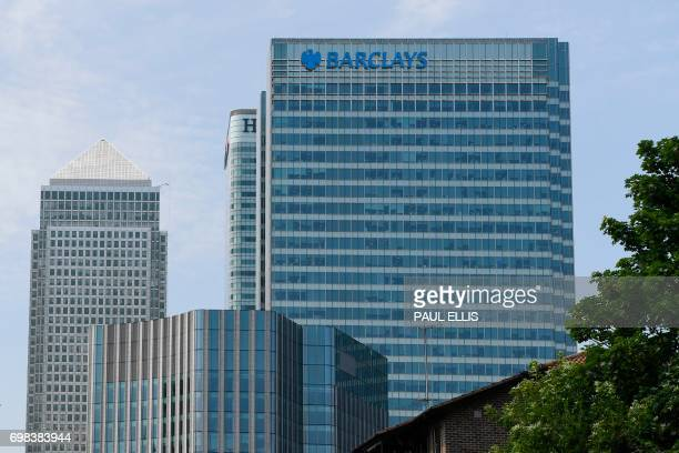 The headquarters of the British bank Barclays is seen at the Canary Wharf district of east London on June 20, 2017. - Britain's Serious Fraud Office...