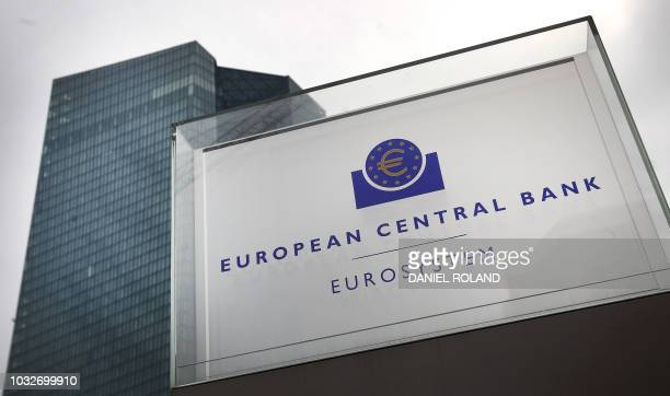 The headquarters of the European Central Bank is pictured in Frankfurt am Main western Germany on September 13 2018 European Central Bank governors...