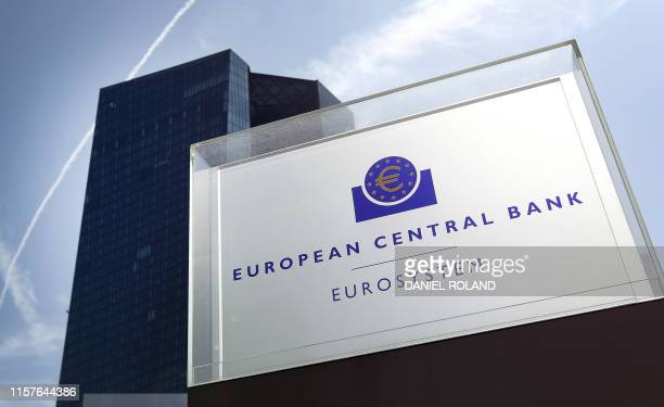 The headquarters of the European Central Bank is pictured in Frankfurt am Main, western Germany, on July 25, 2019. - The European Central Bank...