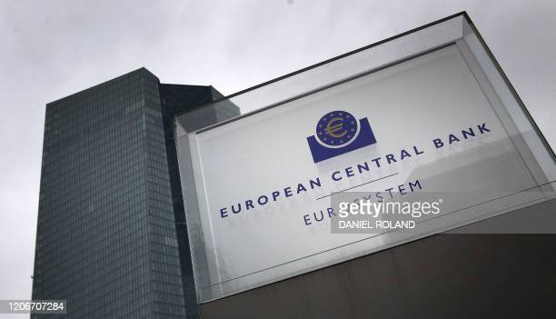 The headquarters of the European Central Bank is pictured in Frankfurt am Main, western Germany, on March 12, 2020. - The ECB's governing council...
