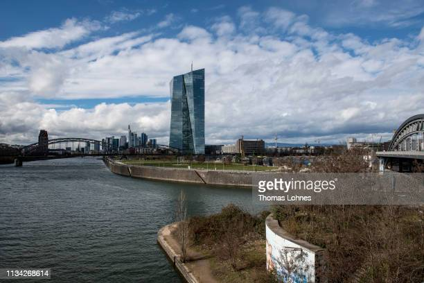 The headquarters of the European Central Bank is seen in front of the Frankfurt skyline with the finance district, the river Main and the container...