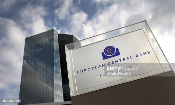 The headquarters of the European Central Bank is seen on December 13 2018 in Frankfurt am Main western Germany European Central Bank chief Mario...