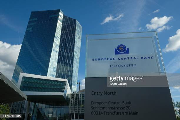 The headquarters of the European Central Bank stands on September 12, 2019 in Frankfurt am Main, Germany. Earlier in the day ECB President Mario...