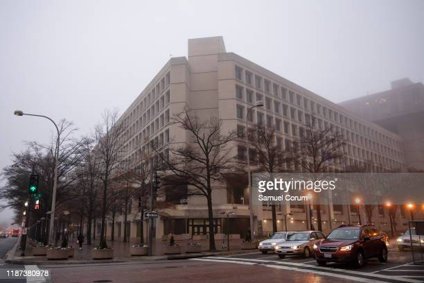The headquarters of the Federal Bureau of Investigations on a foggy morning on December 9, 2019 in Washington, DC. It is expected that the Justice...
