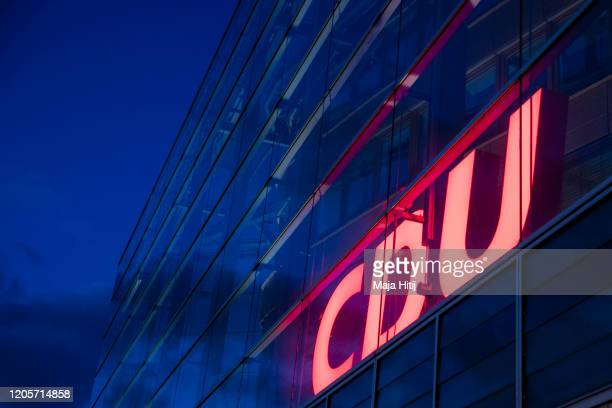 The headquarters of the German Christian Democrats stands at twilight on February 12 2020 in Berlin Germany The CDU will seek a new leader following...