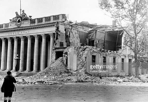 The Headquarters of the local Communist Party severely damaged in World War II Odessa USSR 1941 | Location Odessa USSR