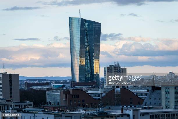 The headquaters of the European Central Bank pictured on March 7 2019 in Frankfurt Germany Economic growth in the Eurozone group of nations has...
