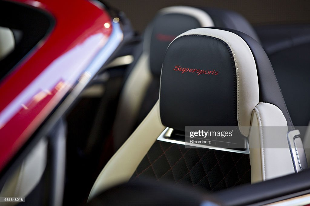 The headrest of a Bentley Motors Ltd. 2017 Continental Supersports convertible vehicle sits on display during a reveal event ahead of the 2017 North American International Auto Show (NAIAS) in Detroit, Michigan, U.S., on Sunday, Jan. 8, 2017. The 2017 Continental Supersports, Bentley's fastest, most powerful production Bentley ever, is the third iteration of the Supersports model that Bentley first produced in the 1920's and reintroduced in 2009. Photographer: Andrew Harrer/Bloomberg via Getty Images