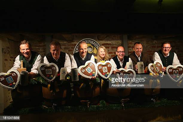 The heads of the six Munich breweries along with the Muenchner Kindl Oktoberfest female patron Jannik Inselkammer Andreas Steinfatt Michael Moeller...