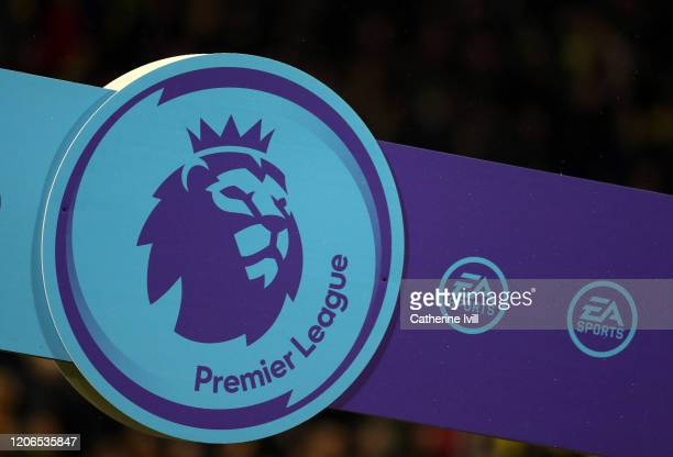The Heads up campaign logo is seen ahead of the Premier League match between Norwich City and Liverpool FC at Carrow Road on February 15 2020 in...