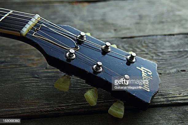 The headstock of a 1959 Gibson Les Paul Standard electric guitar owned by English rock guitarist Bernie Marsden famous for his work with the band...