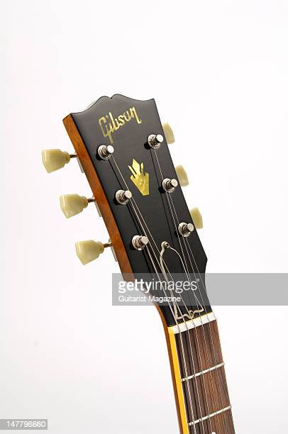 The headstock of a Gibson 2008 '58 ES335 electric guitar during a studio shoot for Guitarist Magazine/Future via Getty Images October 22 2008