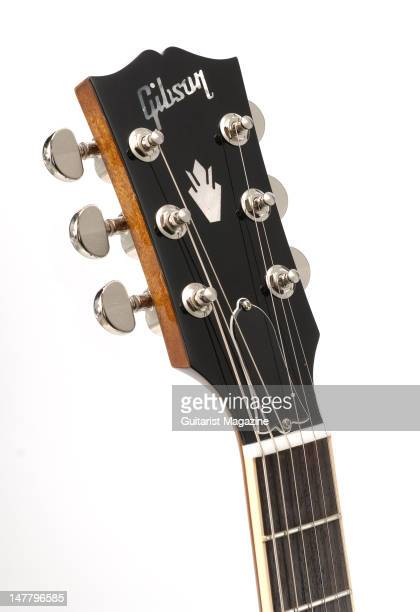The headstock of a Gibson Custom ES335 electric guitar during a studio shoot for Guitarist Magazine/Future via Getty Images October 22 2008