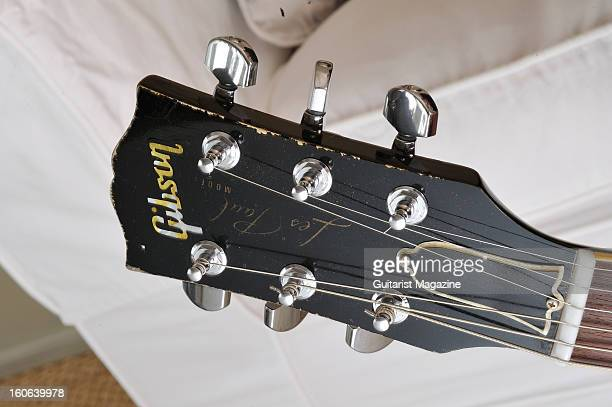 The headstock of a Gibson Les Paul Goldtop electric guitar owned by English guitarist Snowy White photographed during a portrait shoot for Guitarist...