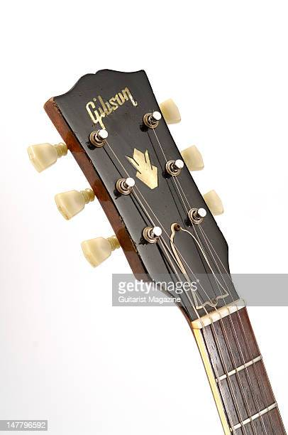 The headstock of a Gibson Original 1961 ES335 electric guitar during a studio shoot for Guitarist Magazine/Future via Getty Images October 22 2008