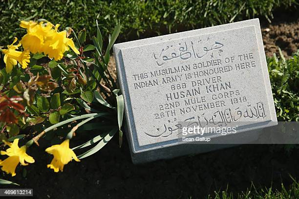 The headstone of an Indian Commonwealth soldier killed during the Gallipoli Campaign lies at Ari Burnu Cemetery at Anzac Cove on April 8 2015 near...