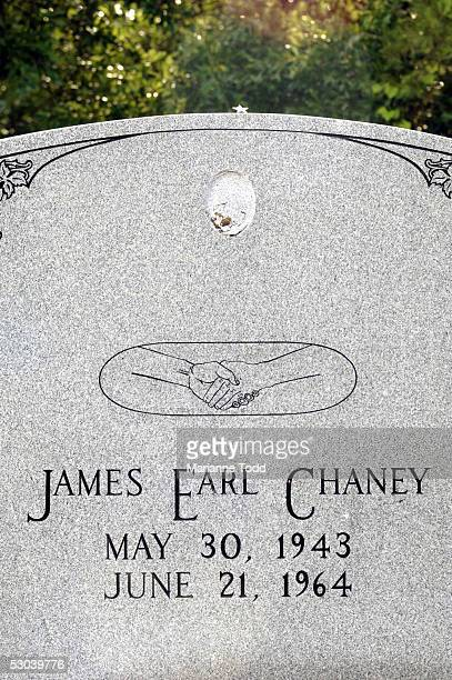 The headstone of black civil rights worker James Chaney stands along a rural road more than forty years after his murder June 8 2005 in Meridian...