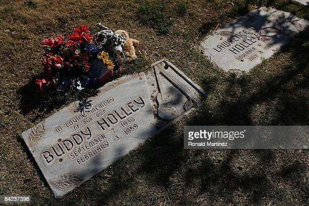 The headstone of Buddy Holly at the City of Lubbock Cemetery on November 8 2008 in Lubbock Texas Februray 3 2009 will be the 50th anniversary of what...