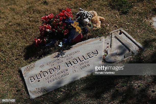 The headstone of Buddy Holly at the City of Lubbock Cemetery on November 8, 2008 in Lubbock, Texas. Februray 3, 2009 will be the 50th anniversary of...