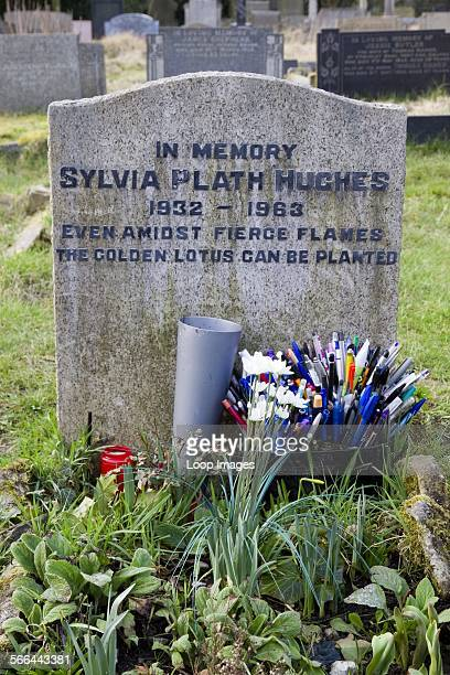 The headstone of poet Sylvia Plath Hughes In Heptonstall in West Yorkshire