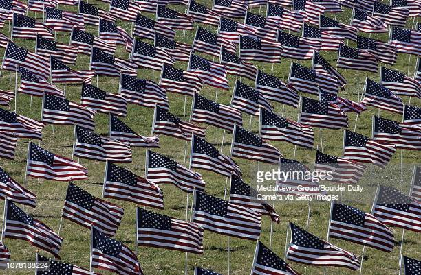 The Healing Field south and west of the Mamie Doud Eisenhower Library full of flags each one representing the civilian first responder victims of the...