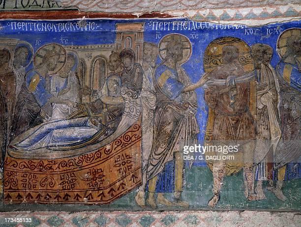 The healing of Simon Peter's motherinlaw and the paralytic man Byzantine fresco Tokali Kilise Goreme Cappadocia Turkey