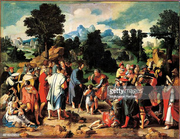 The Healing of the Blind man from Jericho by Lucas van Leyden 16th Century oil on canvas Russia St Petersburg The State Hermitage Museum Whole...