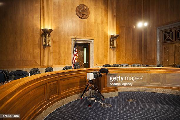 The hearing chamber sits empty after the Senate Homeland Security Committee hearing was interrupted in the Dirksen Senate Office Building which was...