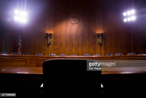 The hearing room is seen before FBI Director James Comey testifies in front of the Senate Judiciary Committee during an oversight hearing on the FBI...