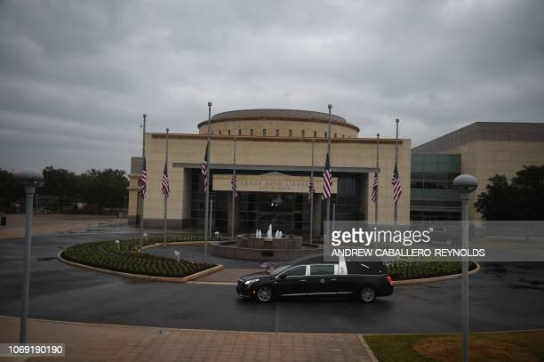 The hearse arrives for the interment ceremony with the body of former US President George HW Bush at the George HW Bush Presidential Library and...